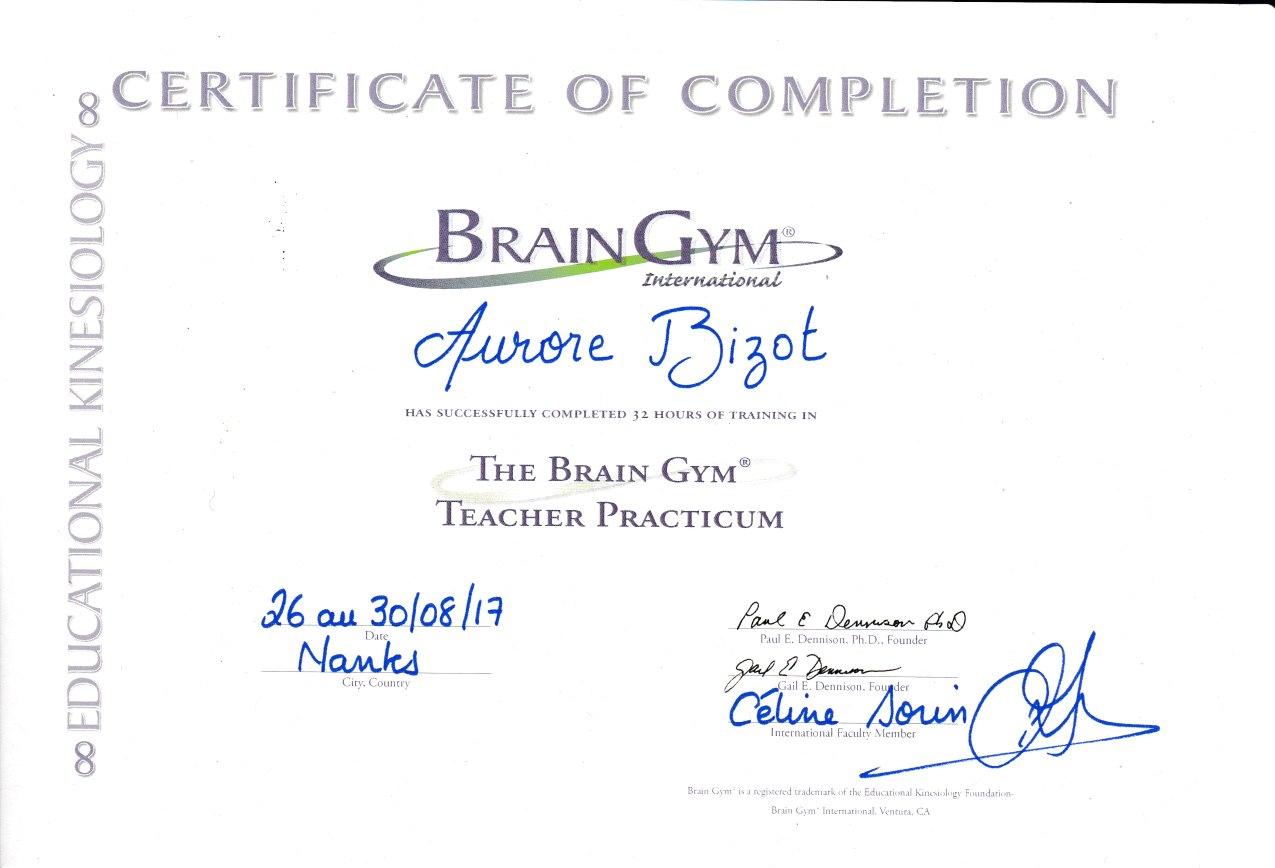 certificatAuroreBizot BrainGymkinesiologie